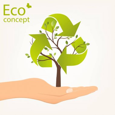 Ecology concept, save the Planet. Tree shaped Recycle symbol, rising from an open palm, illustration modern template design.