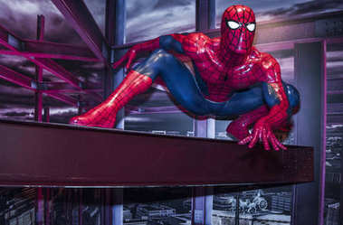 Berlin, Germany - March 2017: Spider-Man  wax figure in Madame Tussaud museum