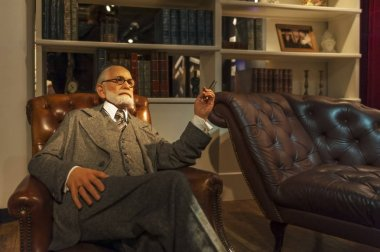 Berlin, Germany - March 2017: Sigmund Freud wax figure in Madame Tussaud's museum