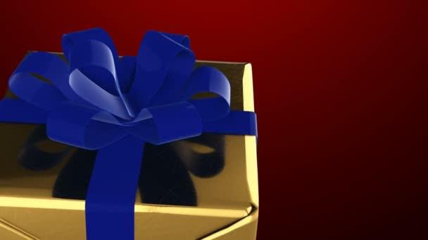 Karácsony és újév arany ajándék doboz-val kék szalag Vértes hurok