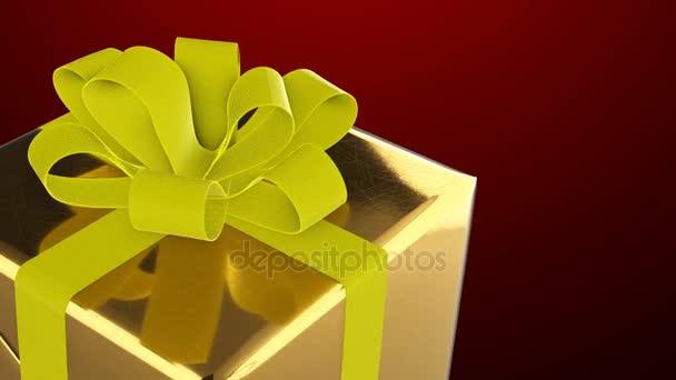 Nový rok a Vánoce zlatá Dárková krabice s žlutou stuhou smyčka