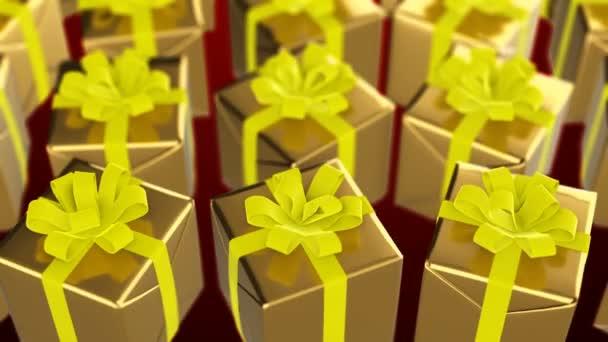 Nový rok a Vánoce zlaté dárkové krabičky s žlutou stuhou smyčka