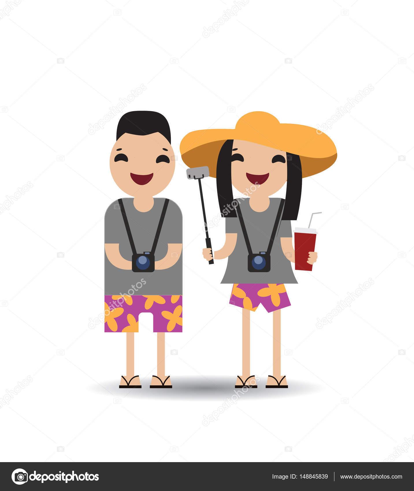 Turismo receptivo de turistas chinos, ilustración vectorial ...