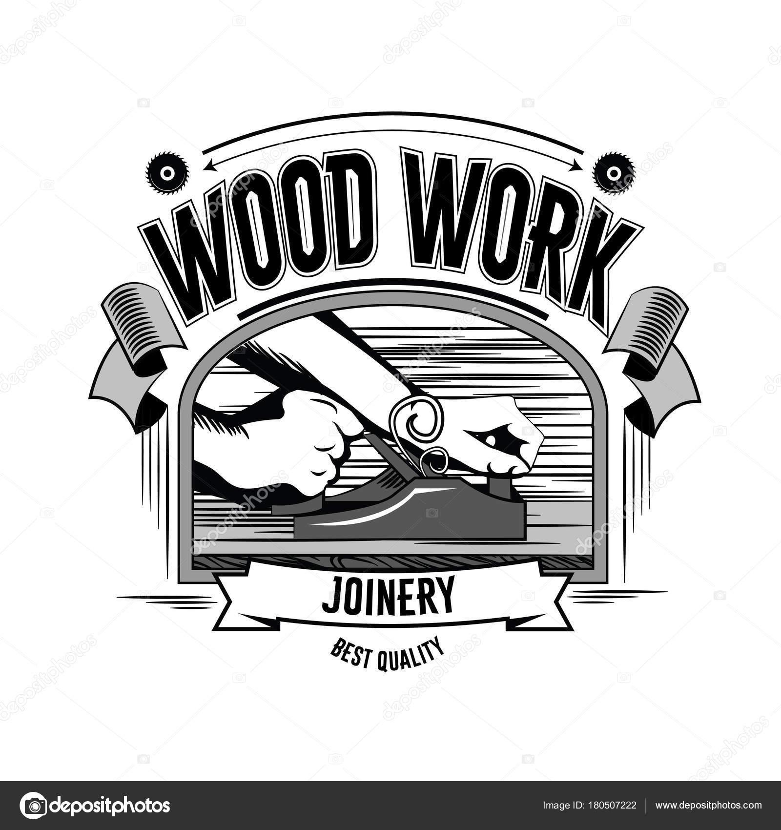 Wood Work Vintage Carpentry Tools Label And Design Element