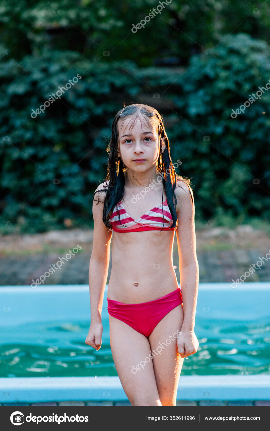 Girl Swimsuit Summer Sunset Teenager Years Old Years Old ...