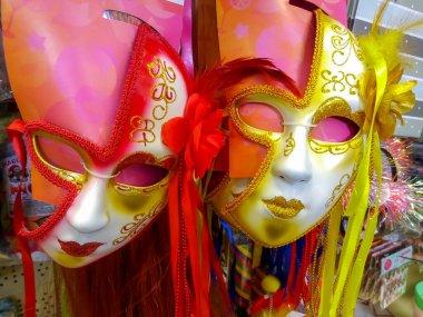 Carnival fective mask shop market, vintage decoration.