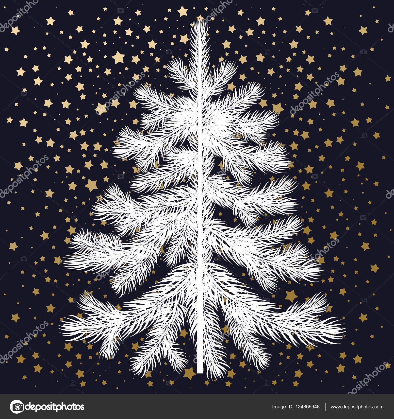 White Christmas tree i złotym konfetti — Grafika wektorowa © sasha