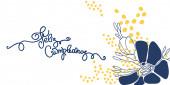 Születésnapi üdvözlés spanyolul. Azt írja, boldog szülinapot. Kézírás és absztrakt virágok fehér háttér