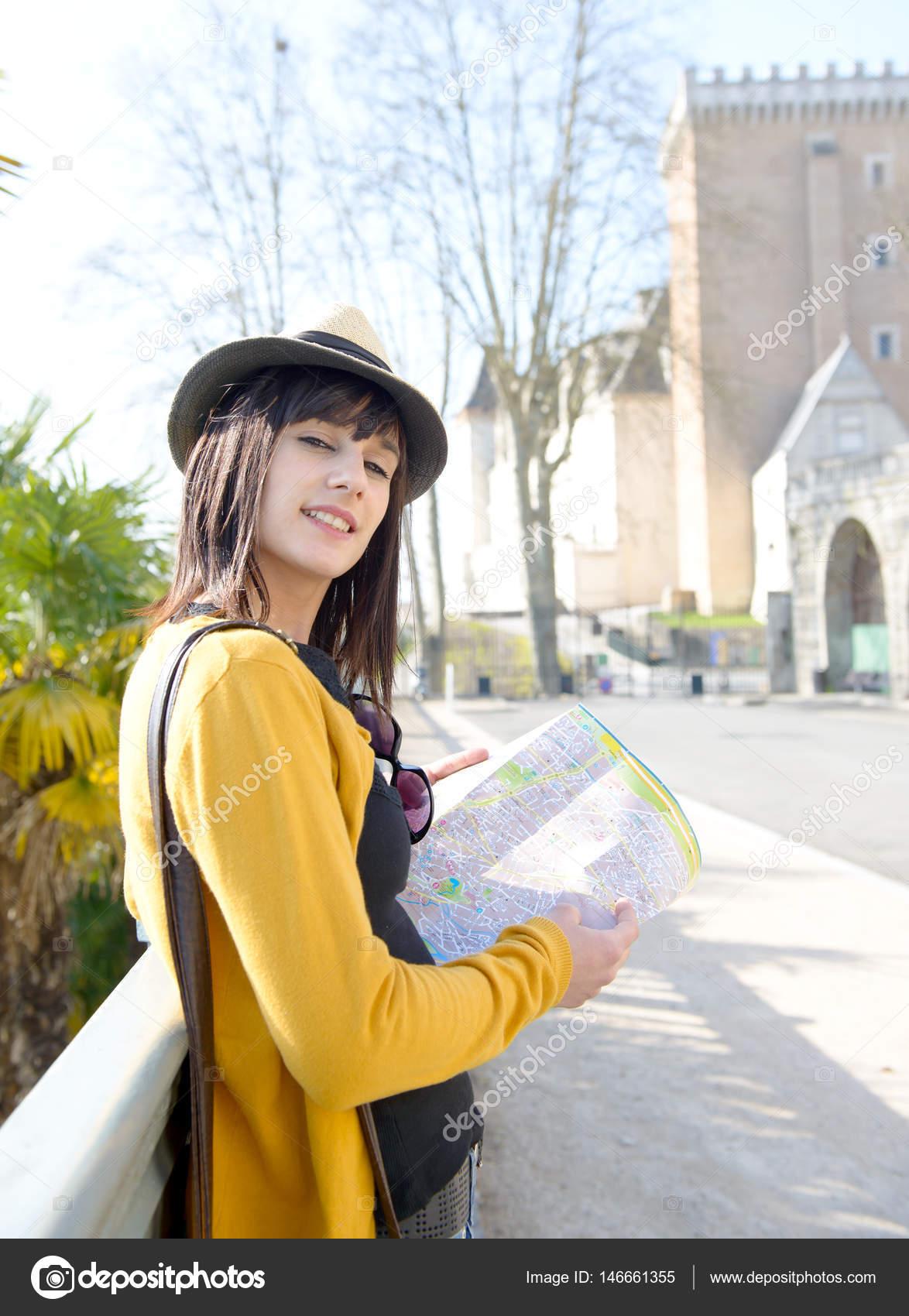 Beautiful Brunette Girl Visits A French City Pau Stock Photo