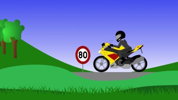 Motocykl blýskl speeding s rychlostní radar