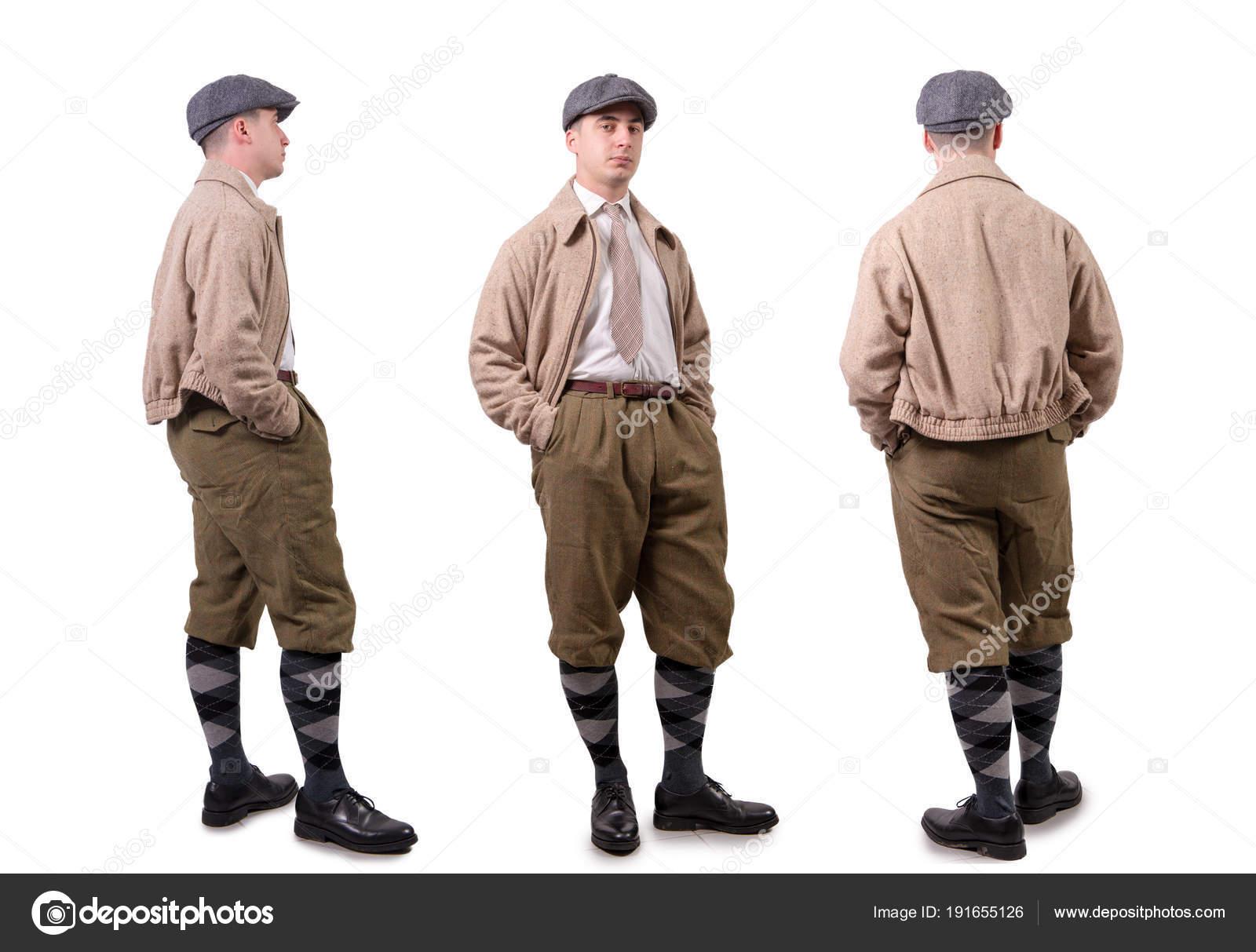Vintage Kleding.Jonge Man In Vintage Kleding Met Hoed 1940 Stijl Op Wit
