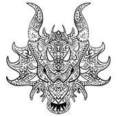 Fotografia schizzo in bianco e nero testa di drago Zen-groviglio