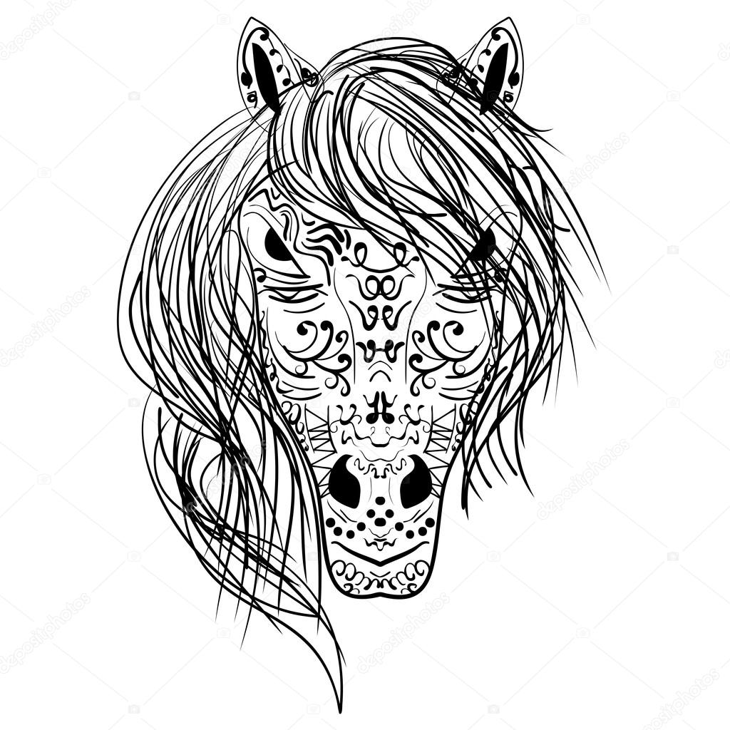 blanco y negro boceto cabeza de caballo Zen-enredo — Archivo ...
