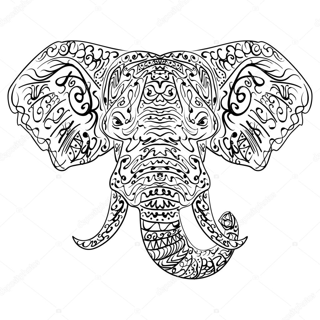 zentangle ethnic indian elephant boho paisley stock vector
