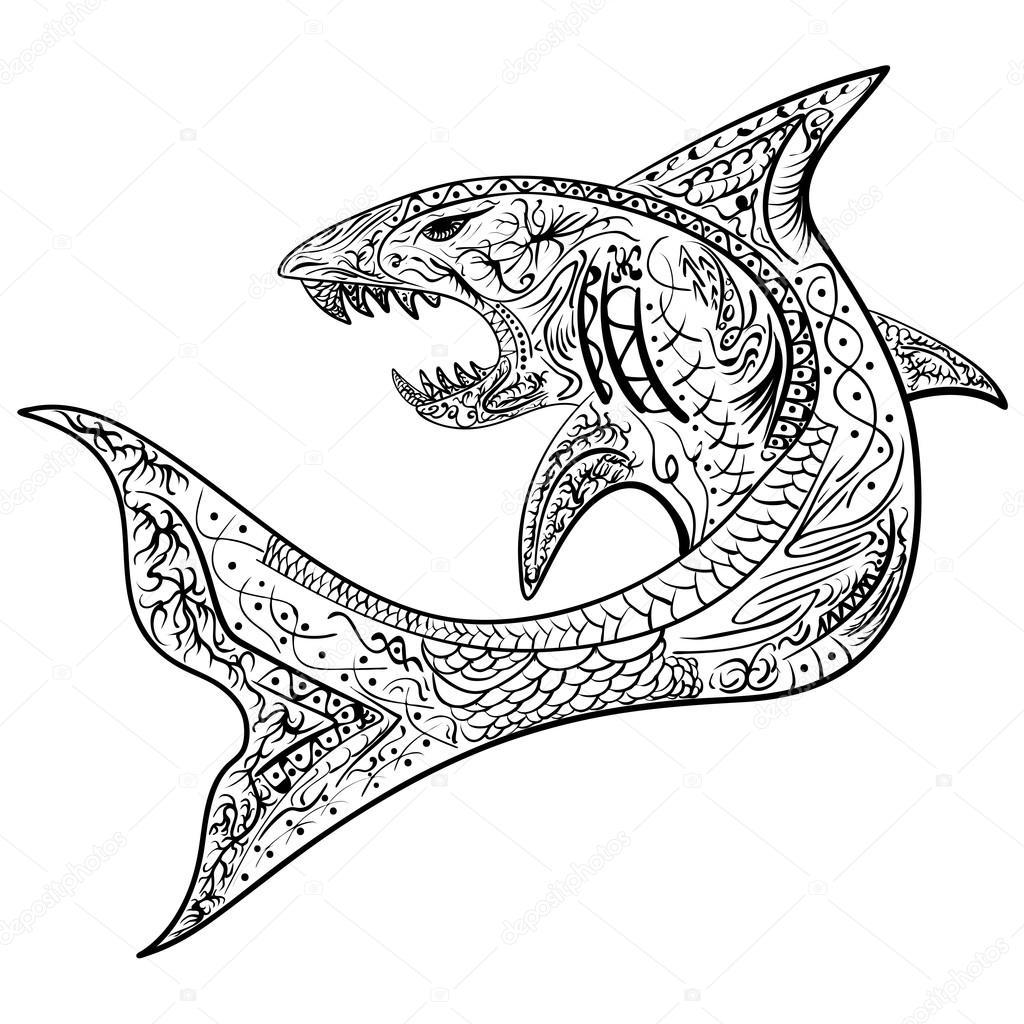рисованной акула с этническими дудл узором окраски страницы