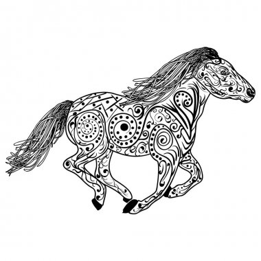 Hand drawn horse. Isolated on white. anti stress Coloring Page Vector monochrome sketch.