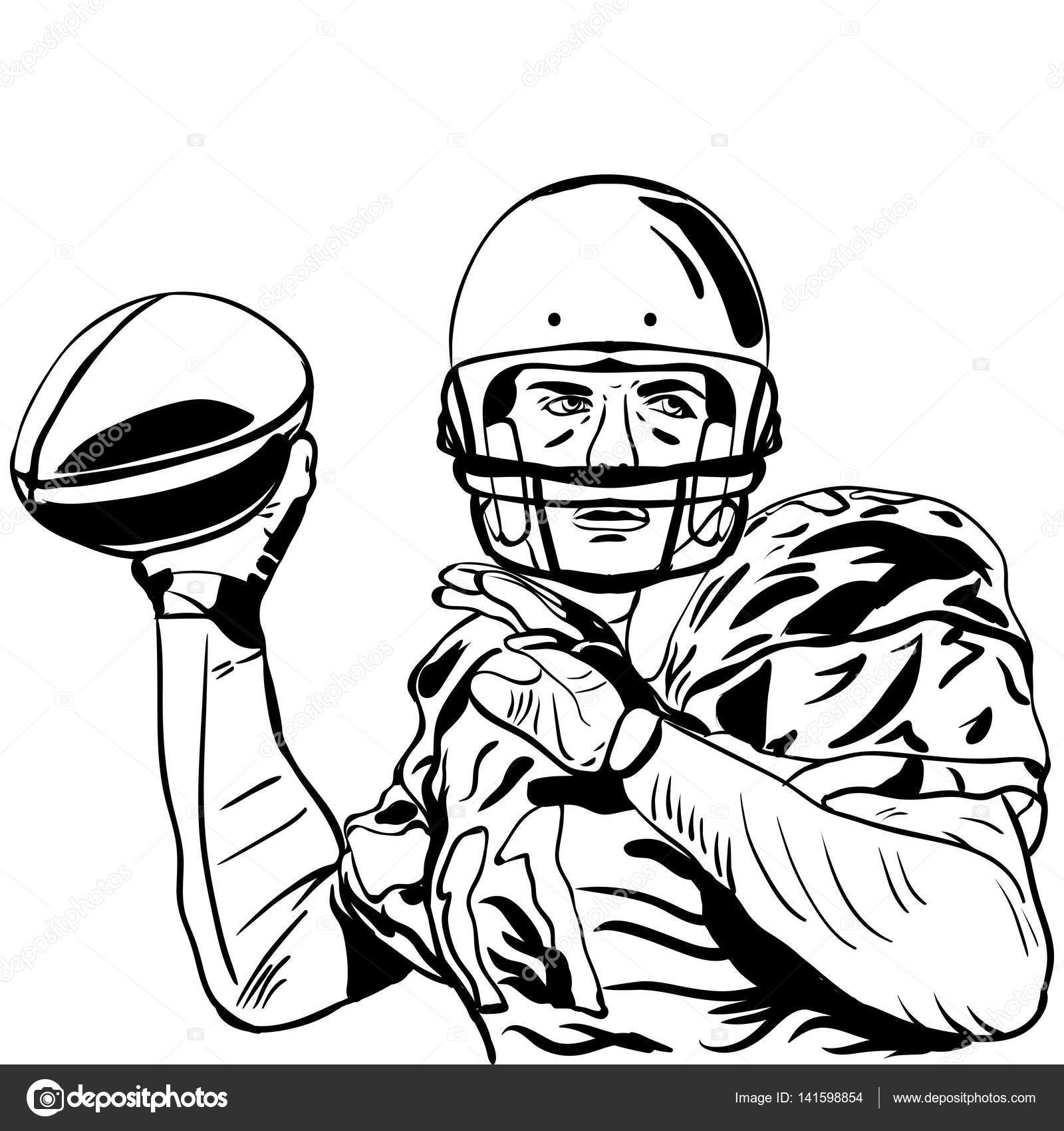 Vector illustration handskizze des american football spieler vektor von