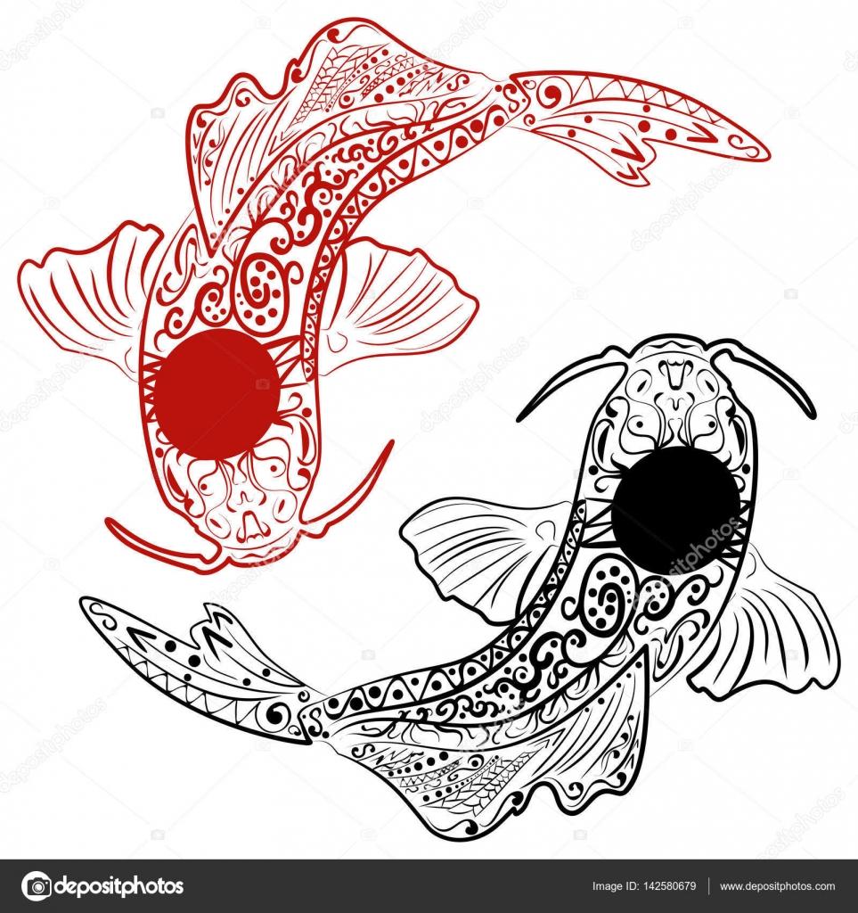 Zentangle estilizado pez koi de dibujado a mano — Vector de stock ...