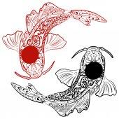 Vektorova Grafika Rucne Tazene Koi Ryby Japonsky Kapr Kresba Na