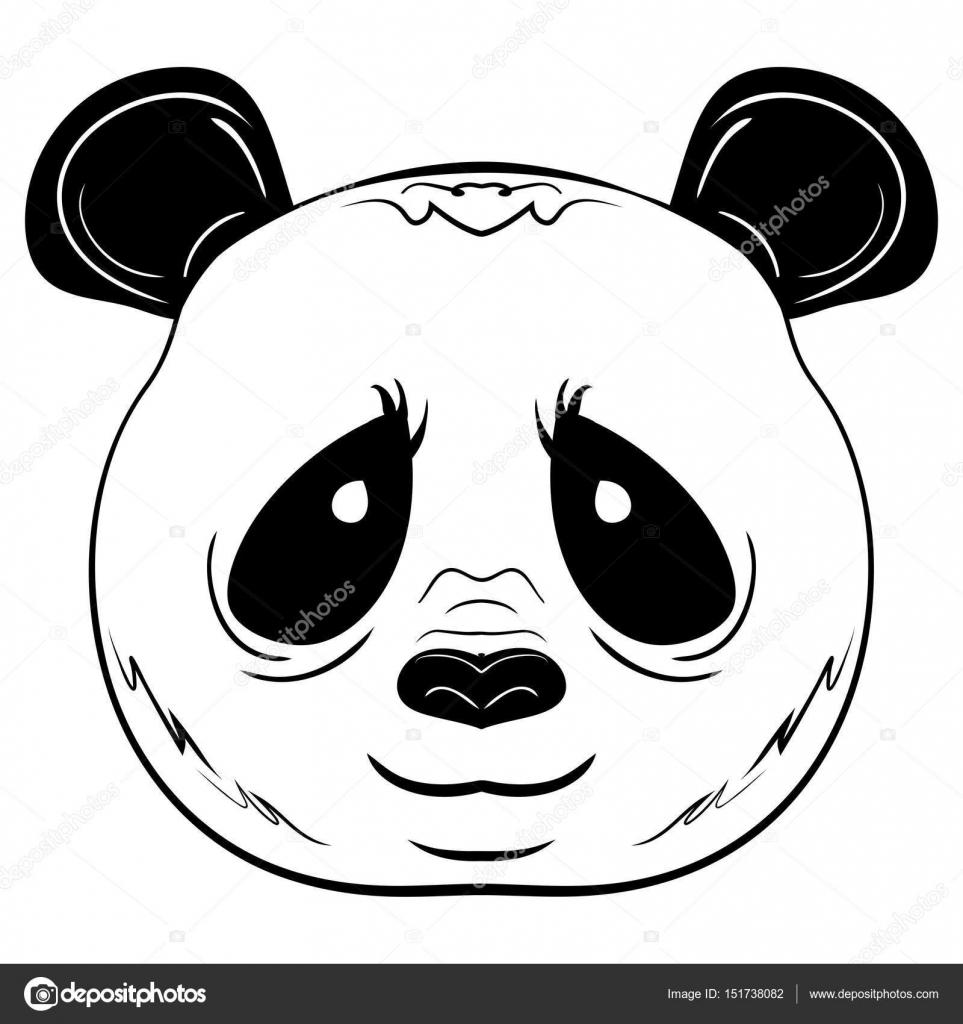 Cara De Panda Blanco Y Negro Dibujo De Vectores Archivo Imágenes