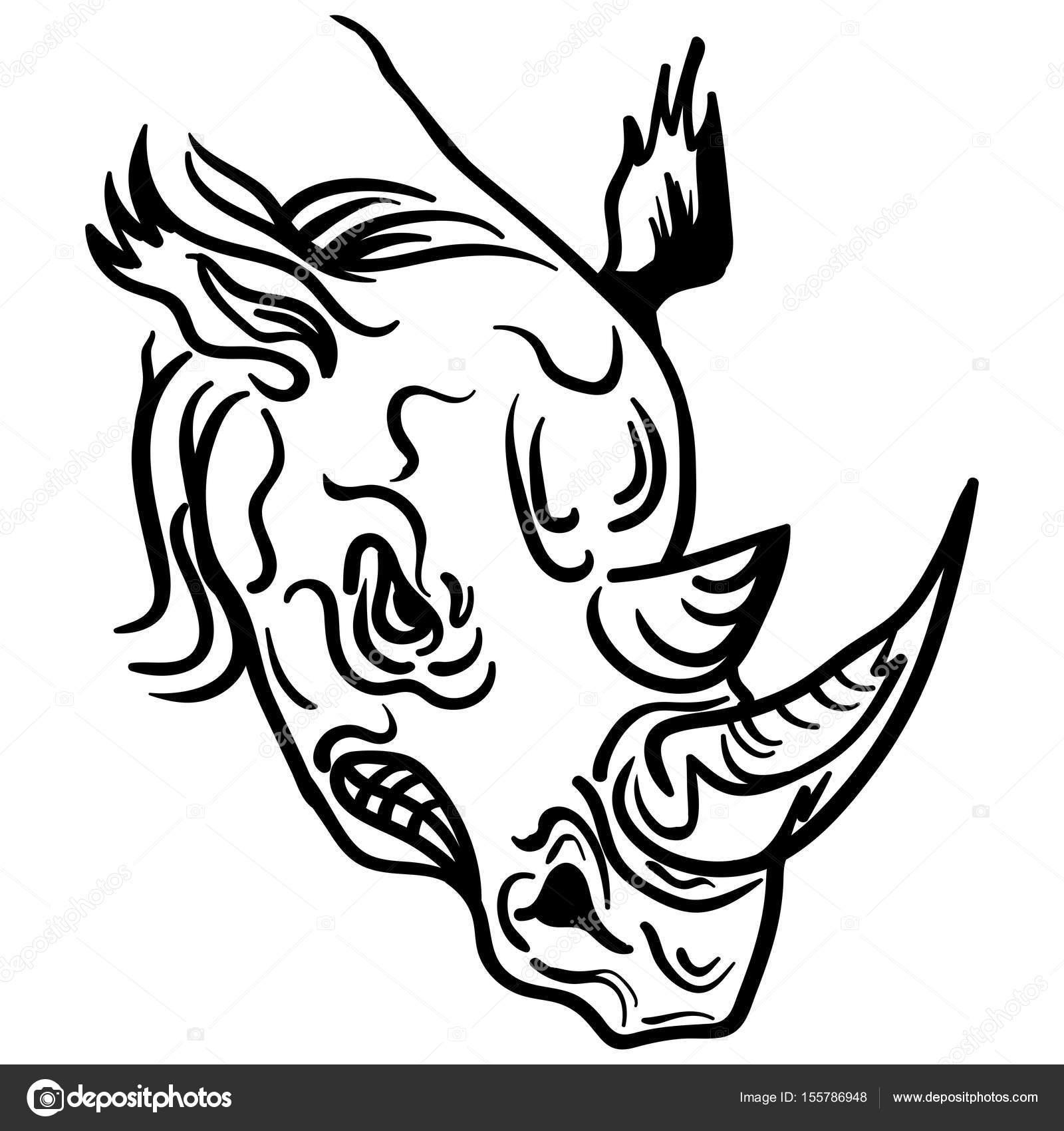 Rhino face paint | Linear paint draw rhino head vector