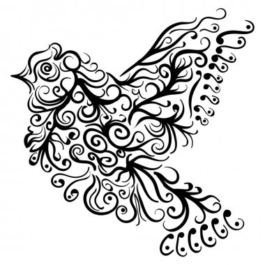 Flying bird tattoo sketch Zentangle stile