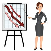 Angry sad unhappy business woman with graph down.