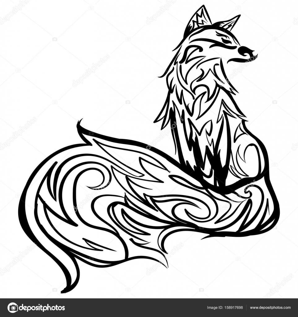 Stilisierten Fuchs Strichzeichnungen Schwarz Weiß Tattoo