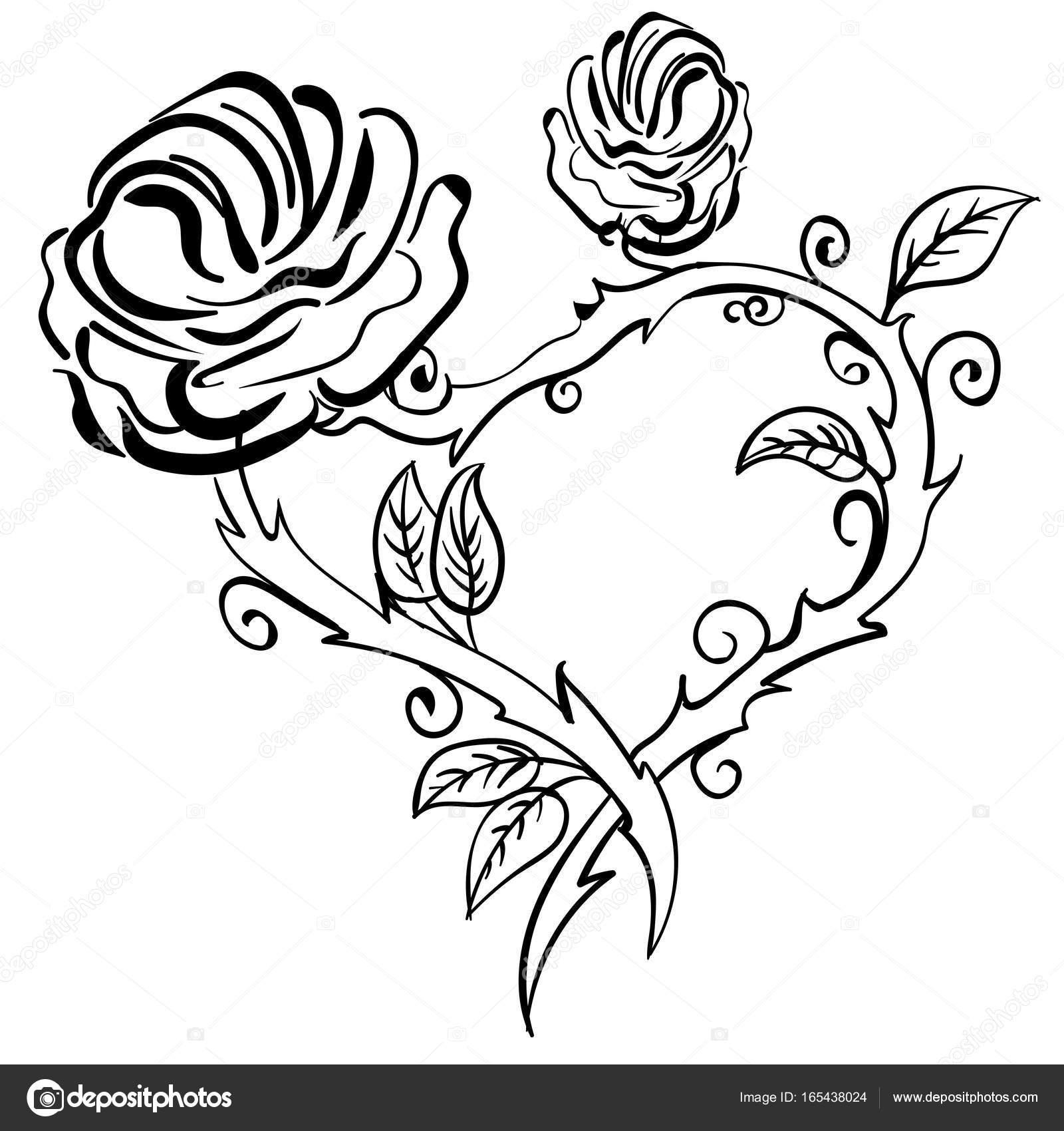 Corazón de San Valentín, las bayas del bosque bosquejo marco rosa ...
