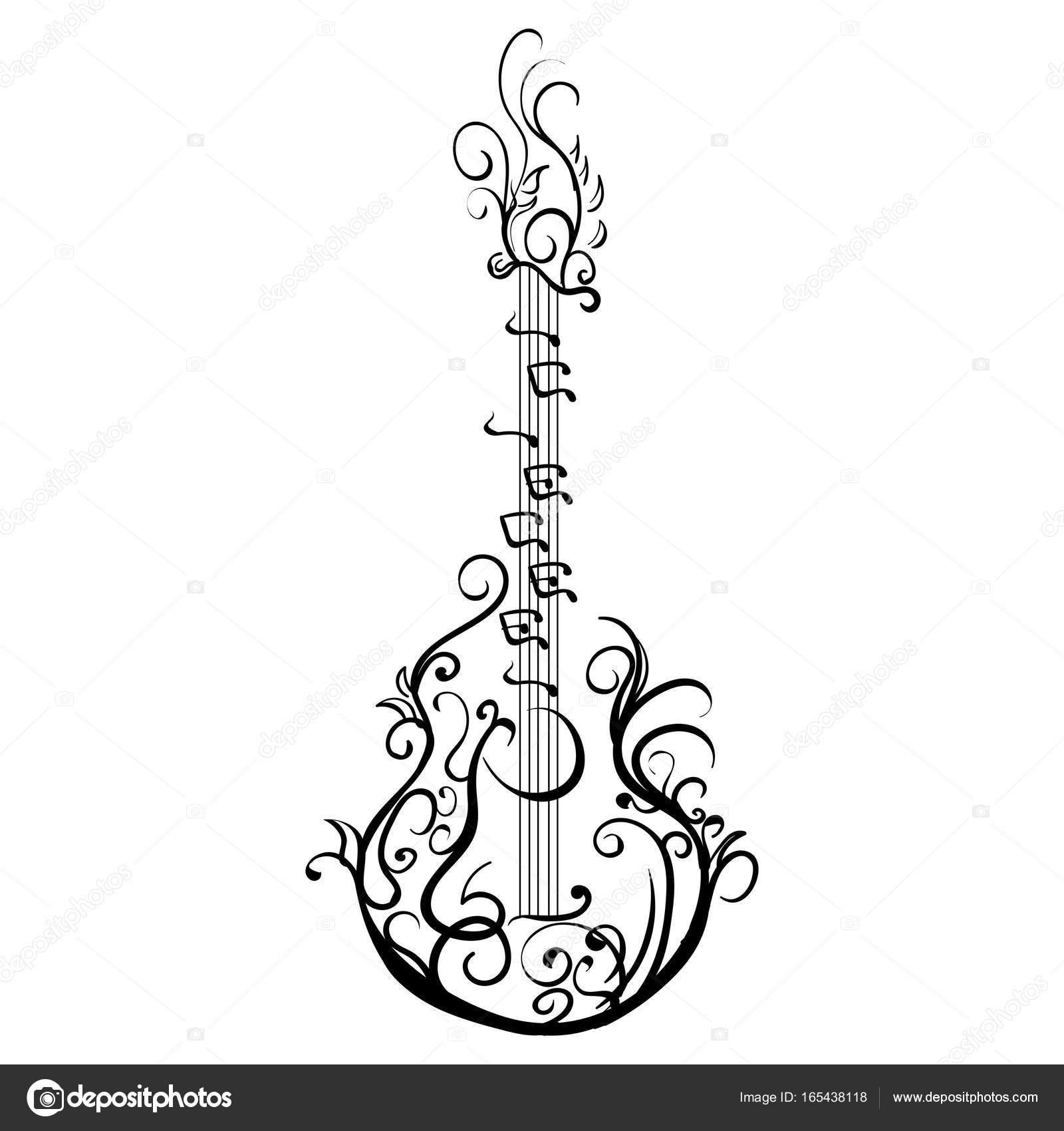 Guitare Classique Stylisee Guitare Retro Tatouage Image