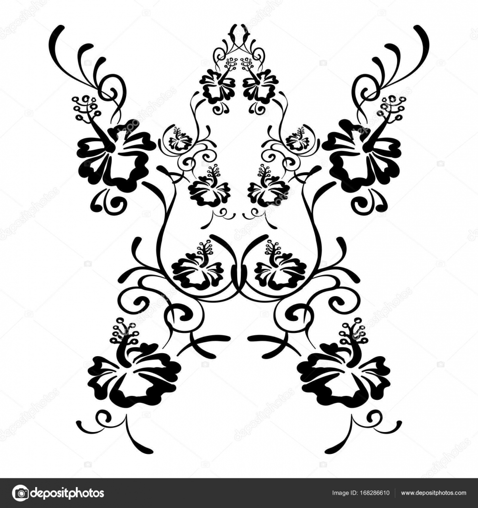 Fleurs D Hibiscus Dessin Et Croquis Avec Dessin Au Trait Image