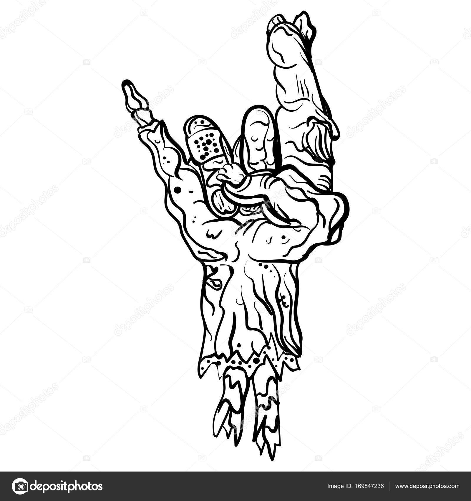 Rock zombie hand. Heavy metal sign Rock gesture — Stock ...