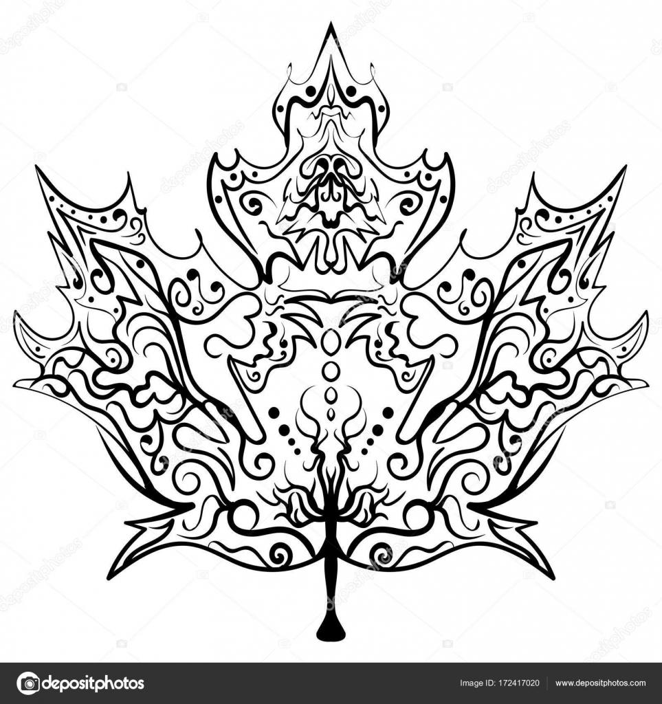 Mano dibujada adorno de hoja de arce ilustración Zen — Vector de ...