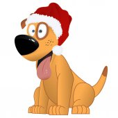 Cartoon yellow dog in the Santa Claus hat vector
