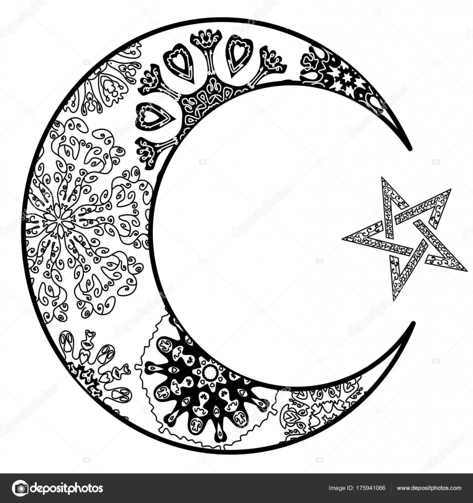 Yeni Ay Ve Yıldız Illüstrasyon Zentangle Tarzı Stok Vektör