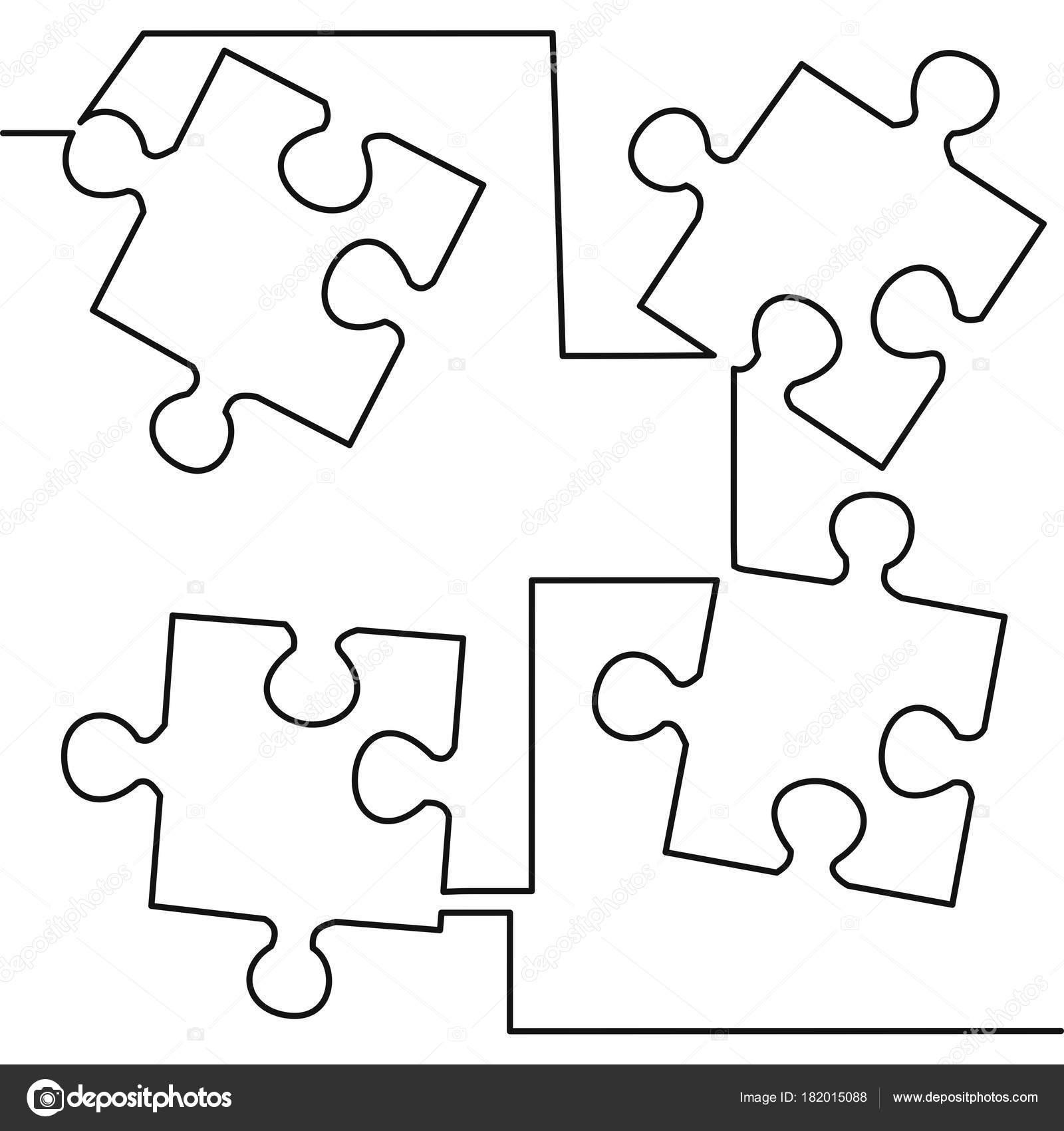 Line Drawing Crossword Clue : Continua un dibujo de línea rompecabezas — vector