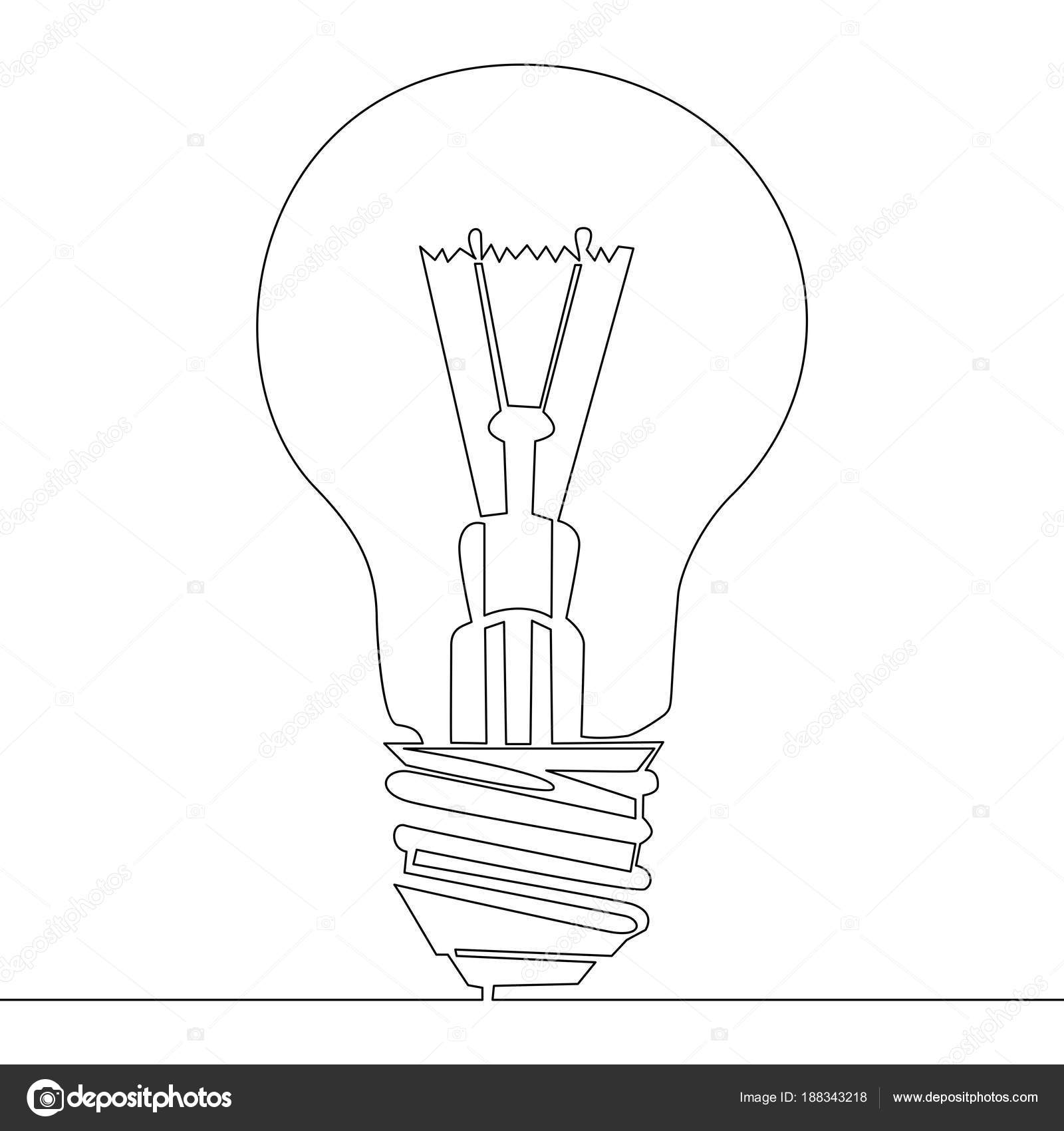 Continuous one line drawing light bulb symbol — Stock Vector