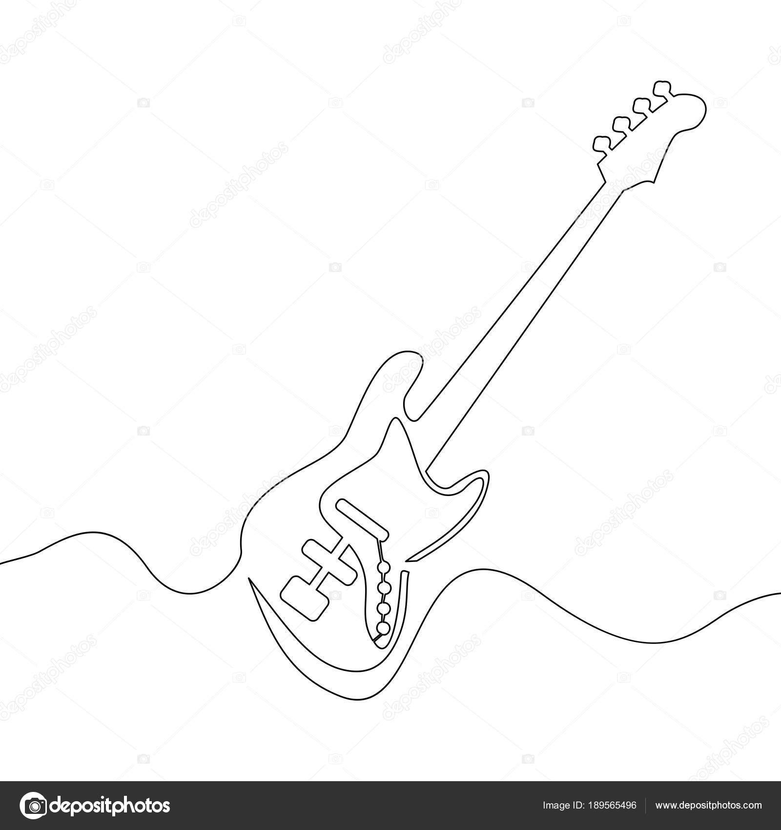continua dibujo de guitarra eléctrica — Archivo Imágenes Vectoriales ...