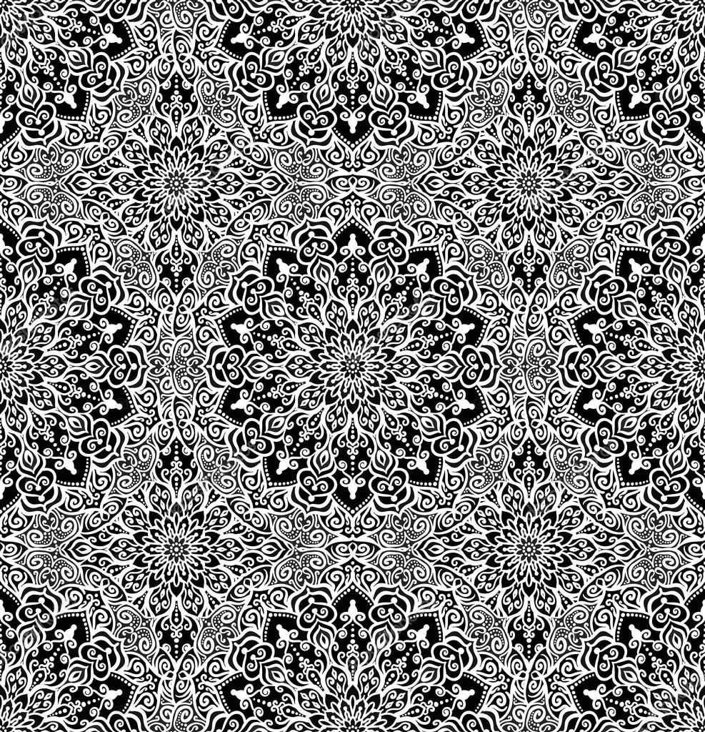 Black White Illustration Decorative Fabric Print Furniture Textile Wallpaper Round Mandala Design Elements Vector By Amovitania