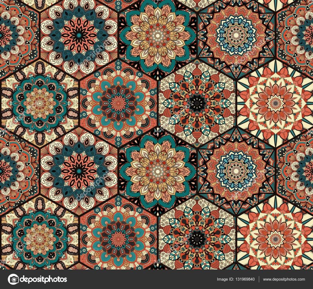 Fliesen Muster Mandala Blau Braun Stockvektor C Amovitania 131969840