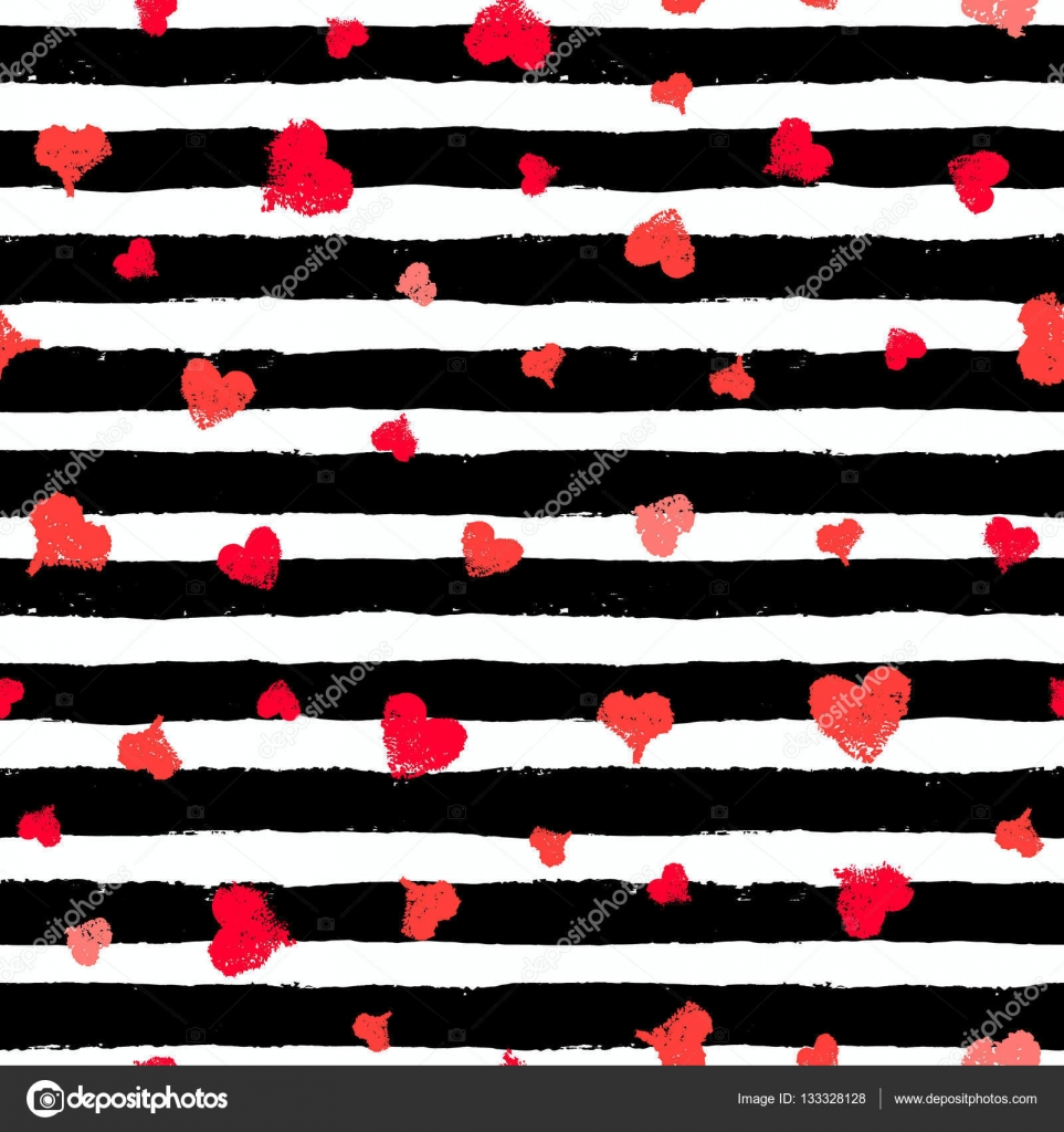 Valentine Background Wallpaper Gift Paper Fabric Print Black White Striped Illustration And Red Love Symbols Grunge Brush Strokes Design
