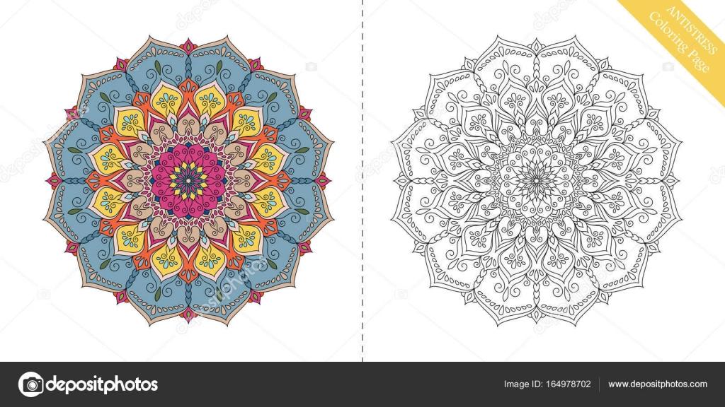 Antiestrés para colorear página Mandala XI — Archivo Imágenes ...