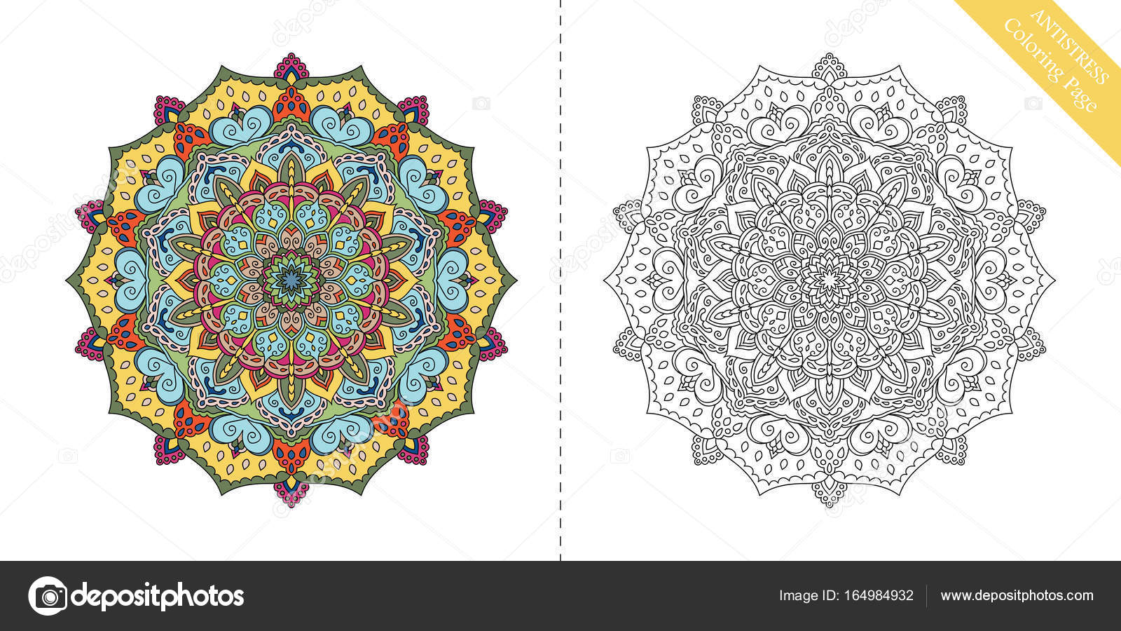 Antiestrés para colorear página Mandala noveno — Vector de stock ...