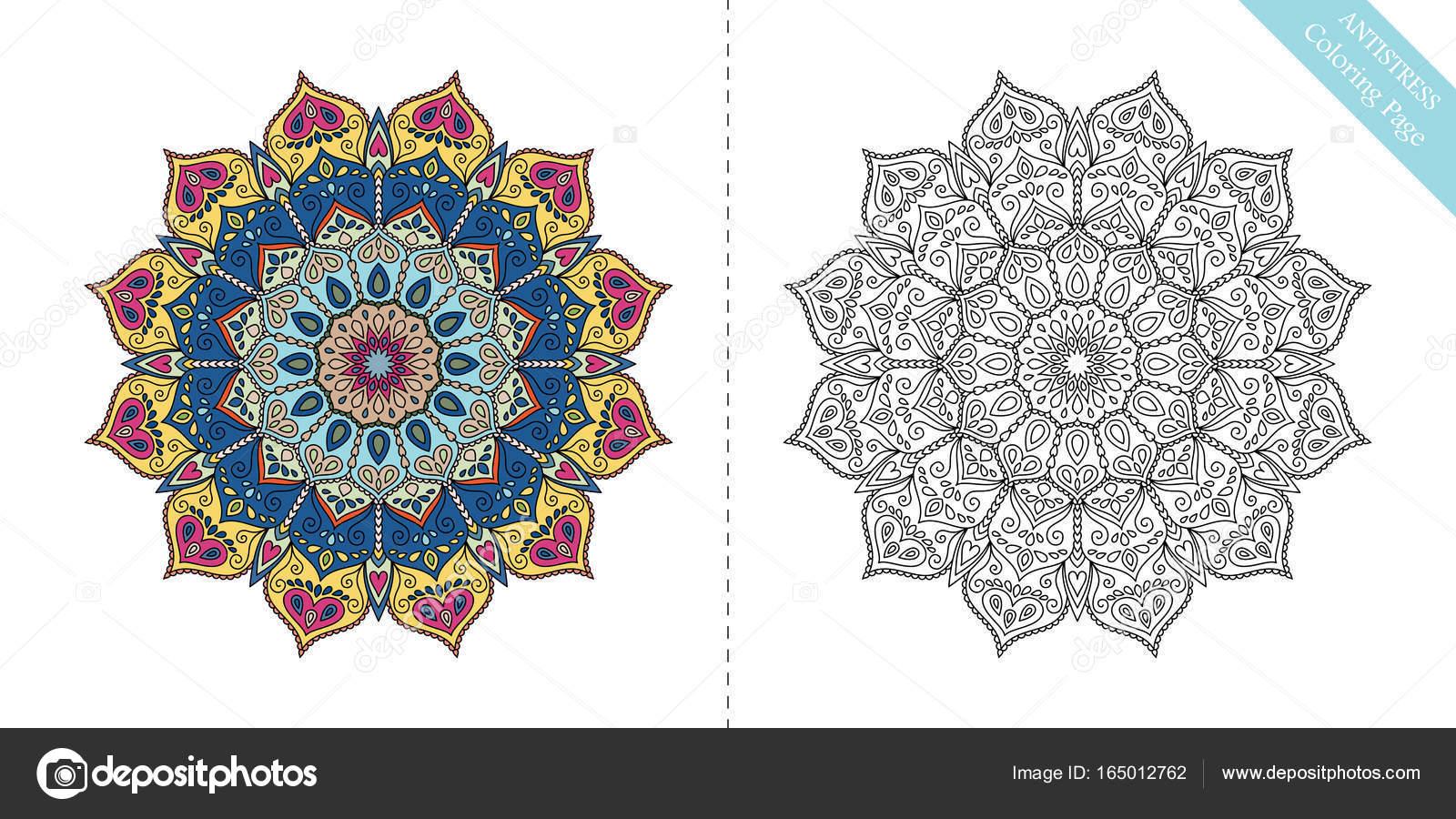 Antiestrés para colorear página Mandala XII — Vector de stock ...
