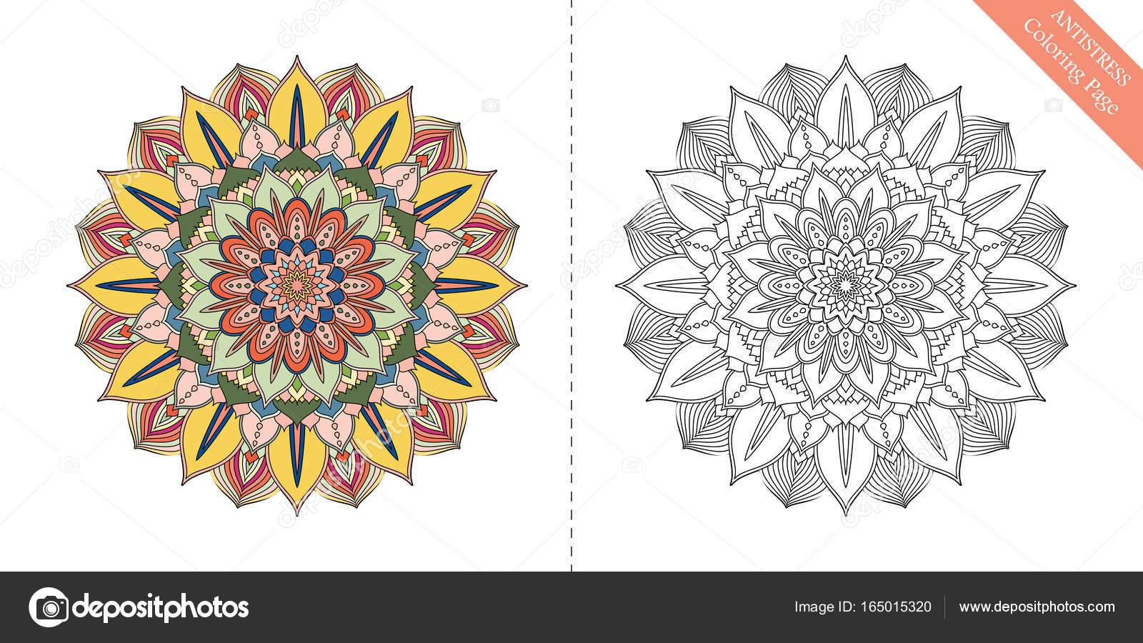 Antiestrés para colorear página Mandala sexto — Vector de stock ...