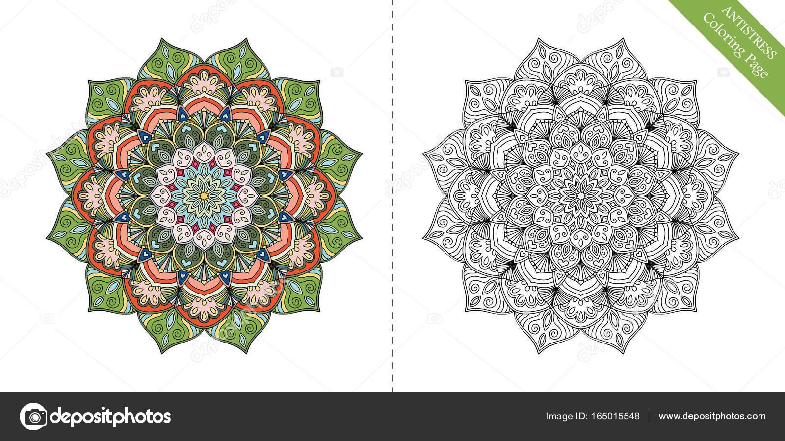 Antiestrés para colorear página Mandala primero — Archivo Imágenes ...