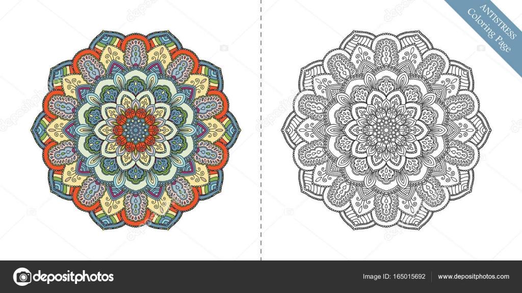 Antiestrés para colorear página Mandala segundo — Archivo Imágenes ...