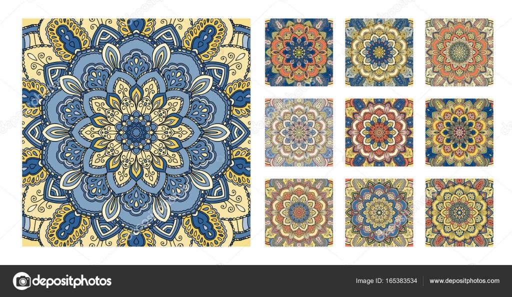 Patrón de flores decoración naranja amarillo azul del azulejo ...