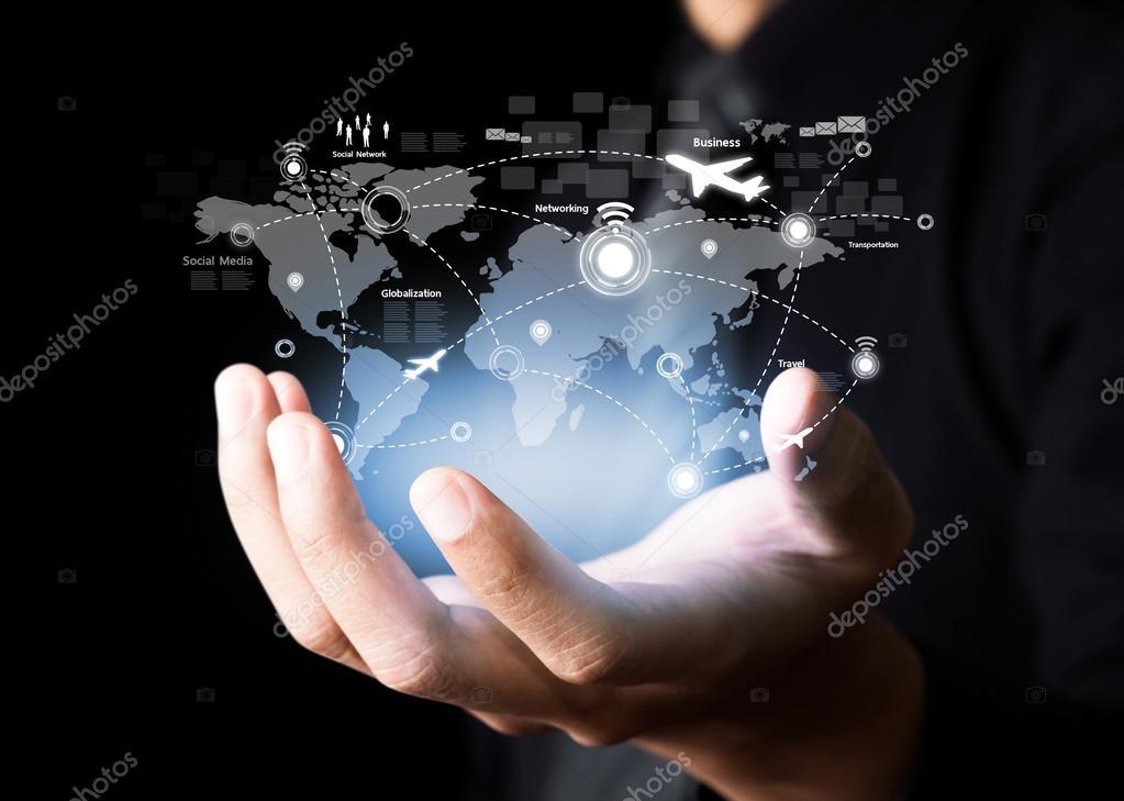 Businessman holding virtual world map stock photo shutterm businessman holding virtual world map photo by shutterm gumiabroncs Choice Image