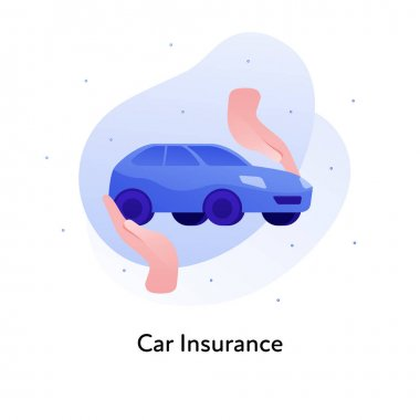 Vector flat insurance business color illustration. Car accident protection concept. Hands holding vehicle isolated on white background. Design element for banner, poster, web, ui, print